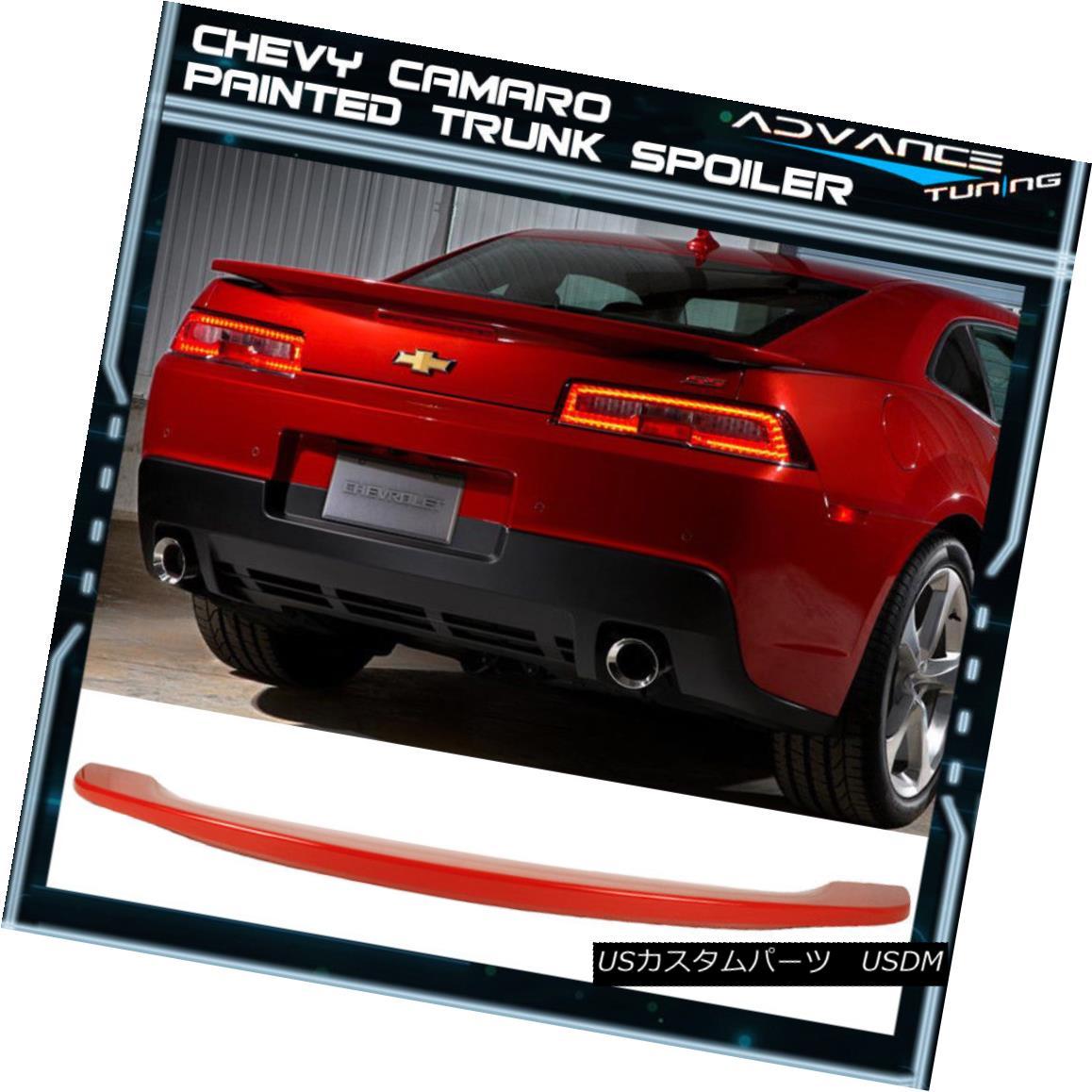 エアロパーツ 14-15 Chevy Camaro Trunk Spoiler OEM Painted Color #WA130X Pull Me Over Red 14-15シボレーカマロトランク・スポイラーOEM塗装カラー#WA130Xプル・ミー・オーバー・レッド