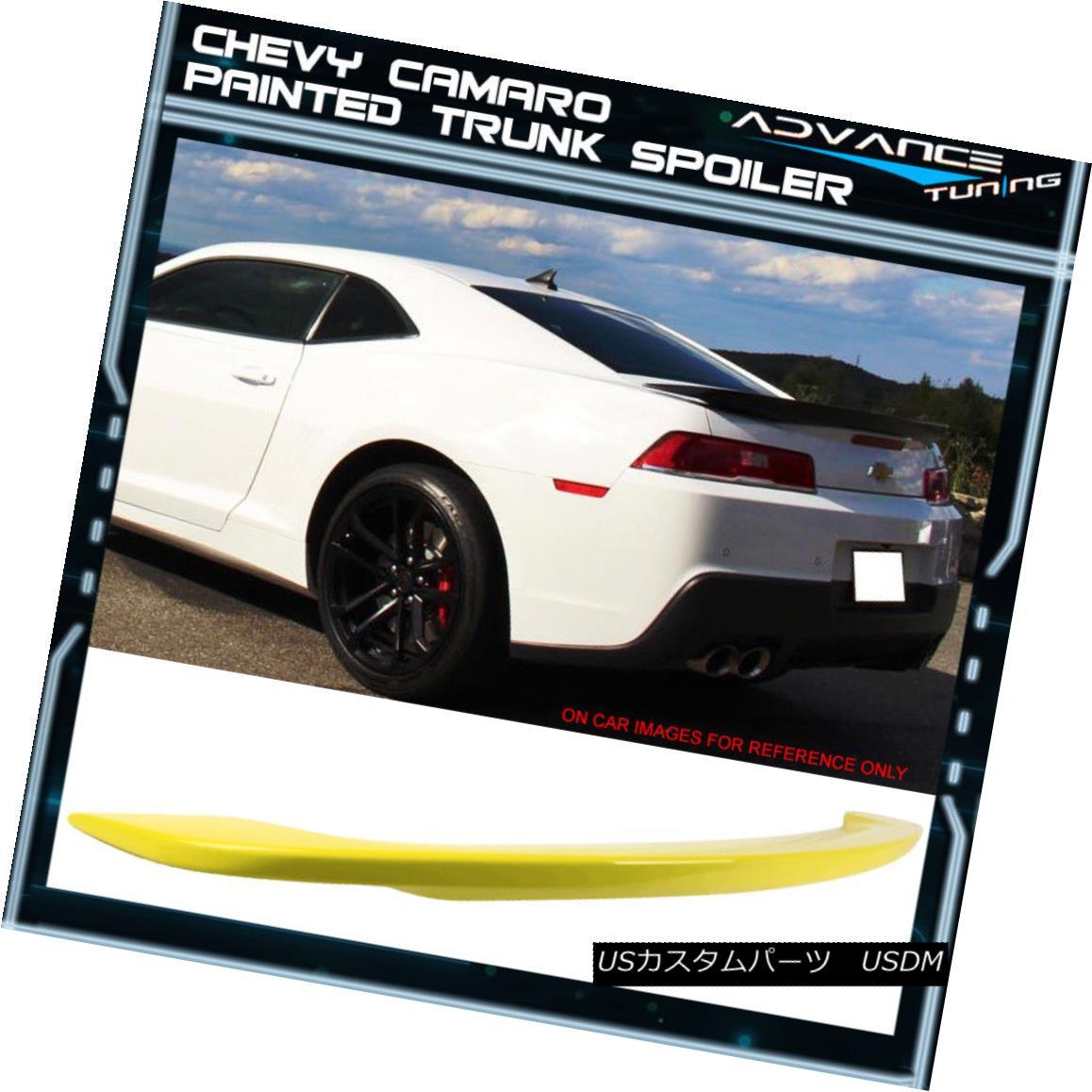 エアロパーツ 14-15 Chevy Camaro Factory Trunk Spoiler Painted Color #WA131X Lemon Peel 14-15シボレーカマロファクトリートランクスポイラー塗装色#WA131Xレモンピール