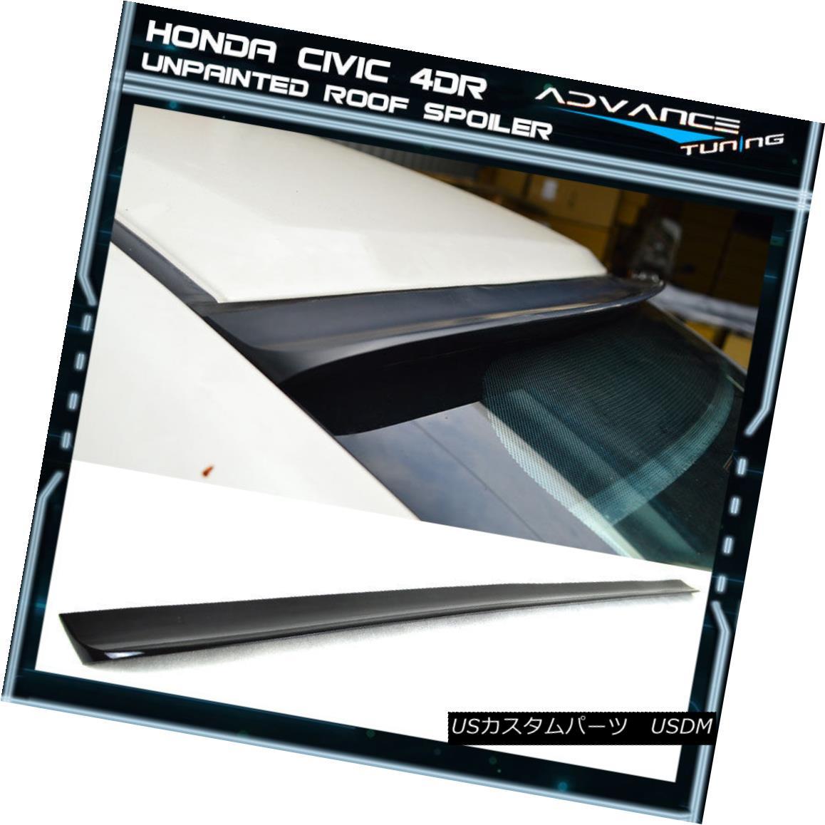 エアロパーツ 12-15 Honda Civic 4Dr 9TH Unpainted Rear Roof Spoiler Lip (PUF) 12-15ホンダシビック4Dr 9TH未塗装リアルーフスポイラーリップ(PUF)