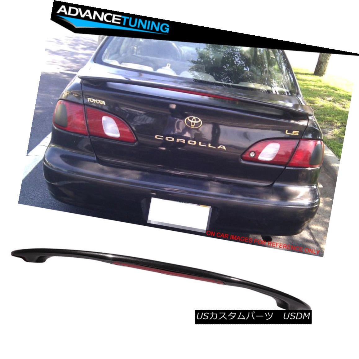 エアロパーツ Fits 98-02 Toyota Corolla OE Style Trunk Spoiler Painted #205 Satin Black フィット98-02トヨタカローラOEスタイルトランクスポイラー#205サテンブラックを塗装