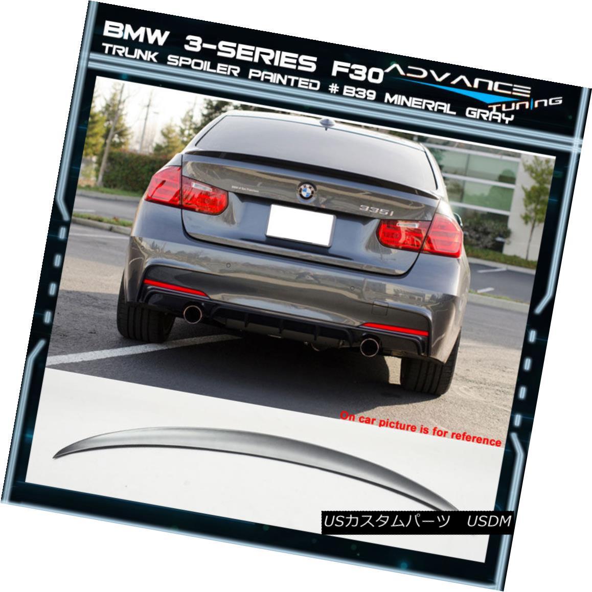 エアロパーツ 12-18 BMW 3-Series F30 4Dr Trunk Spoiler OEM Painted Color # B39 Mineral Gray 12-18 BMW 3シリーズF30 4Drトランク・スポイラーOEM塗装カラー#B39ミネラル・グレー