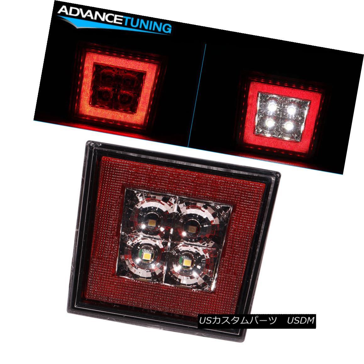 エアロパーツ Fits Universal Fitment Square Red LED Rear Tail Third 3RD Brake Lights Stop Lamp ユニバーサルフィッティングスクエアレッドLEDリアテール3番目の3RDブレーキライトストップランプに適合