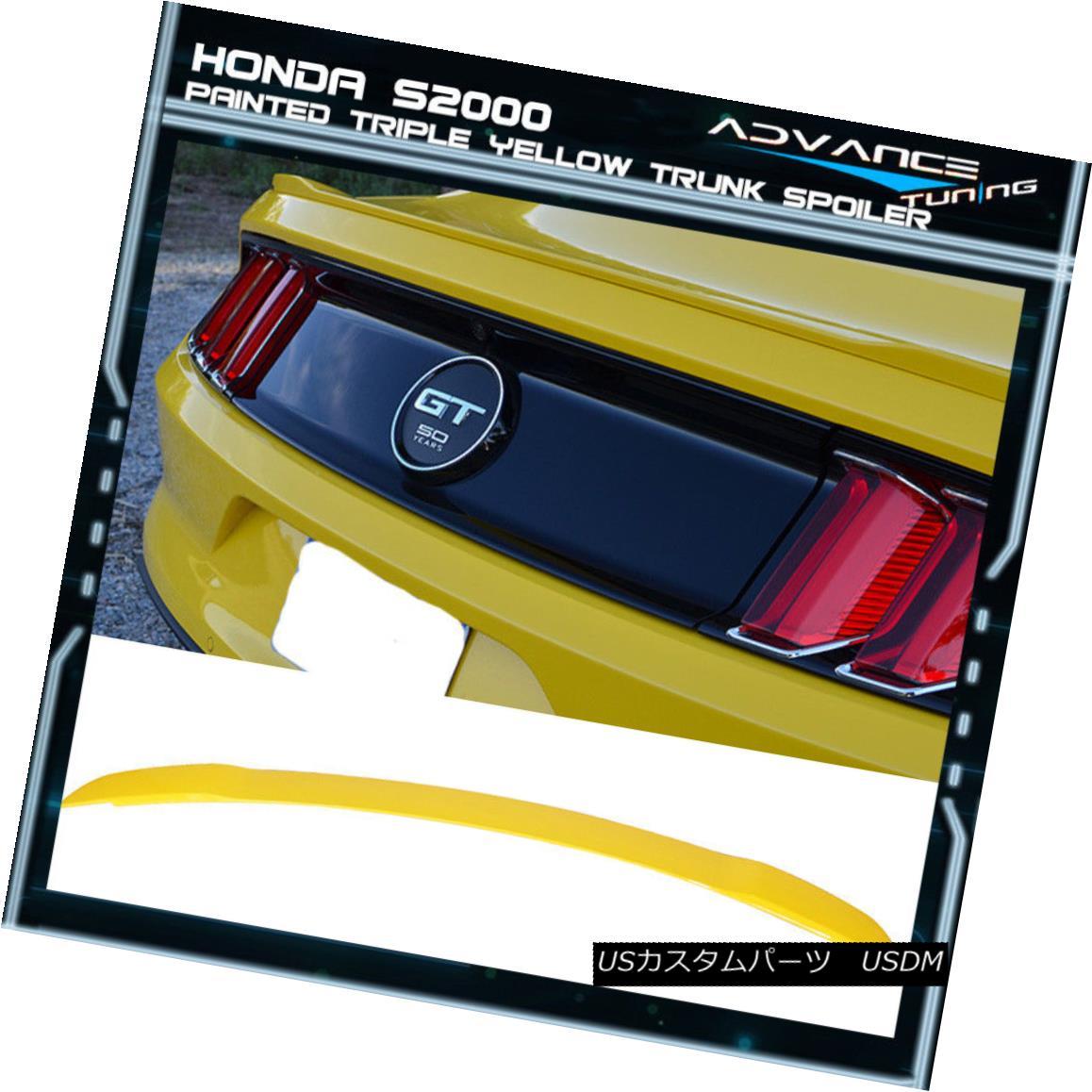 エアロパーツ 15-18 Ford Mustang GT Trunk Spoiler OEM Painted Color Triple Yellow 15-18フォードマスタングGTトランクスポイラーOEM塗装カラートリプルイエロー