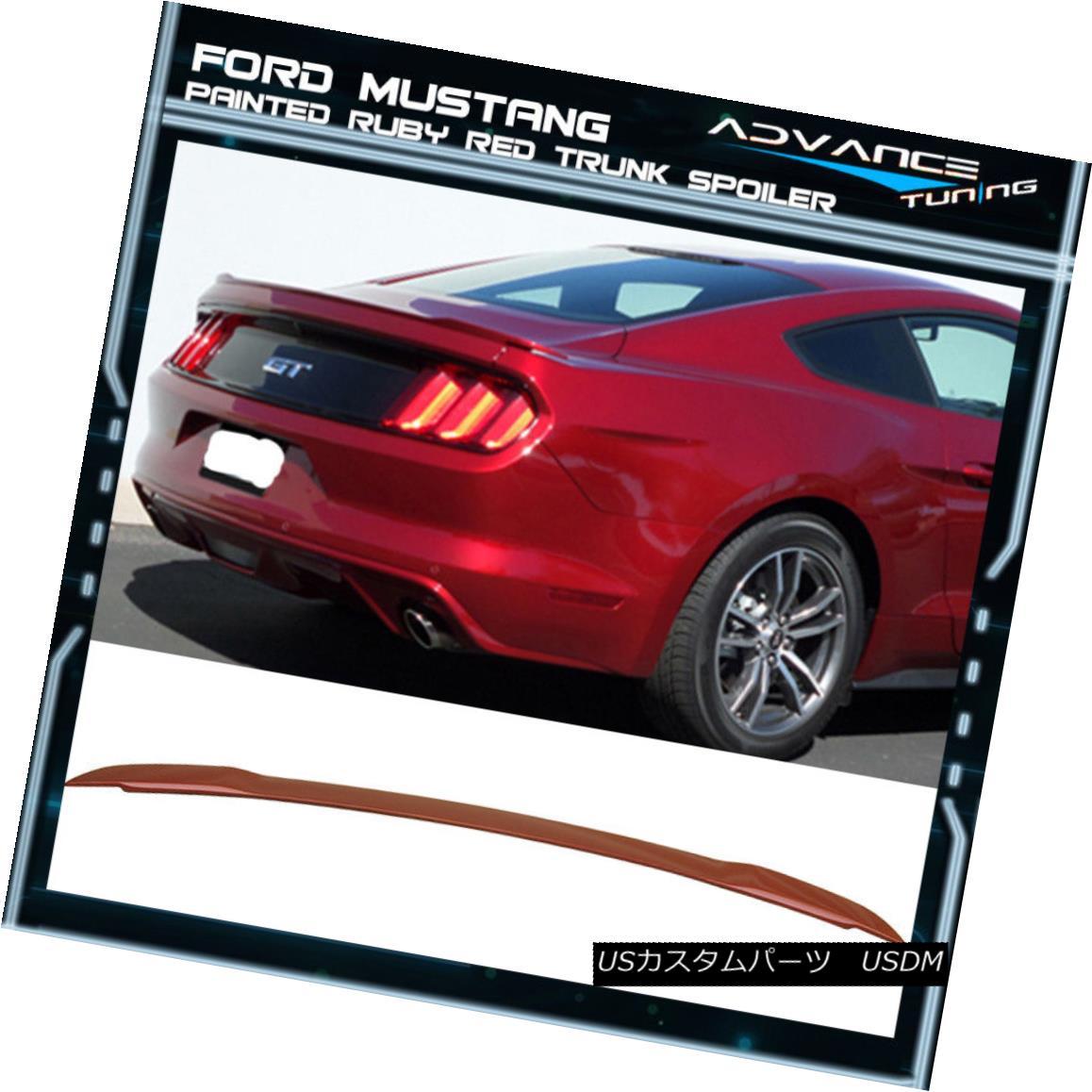 エアロパーツ 15-18 Ford Mustang GT Style Trunk Spoiler OEM Painted Color Ruby Red 15-18フォードマスタングGTスタイルのトランクスポイラーOEM塗装カラールビーレッド