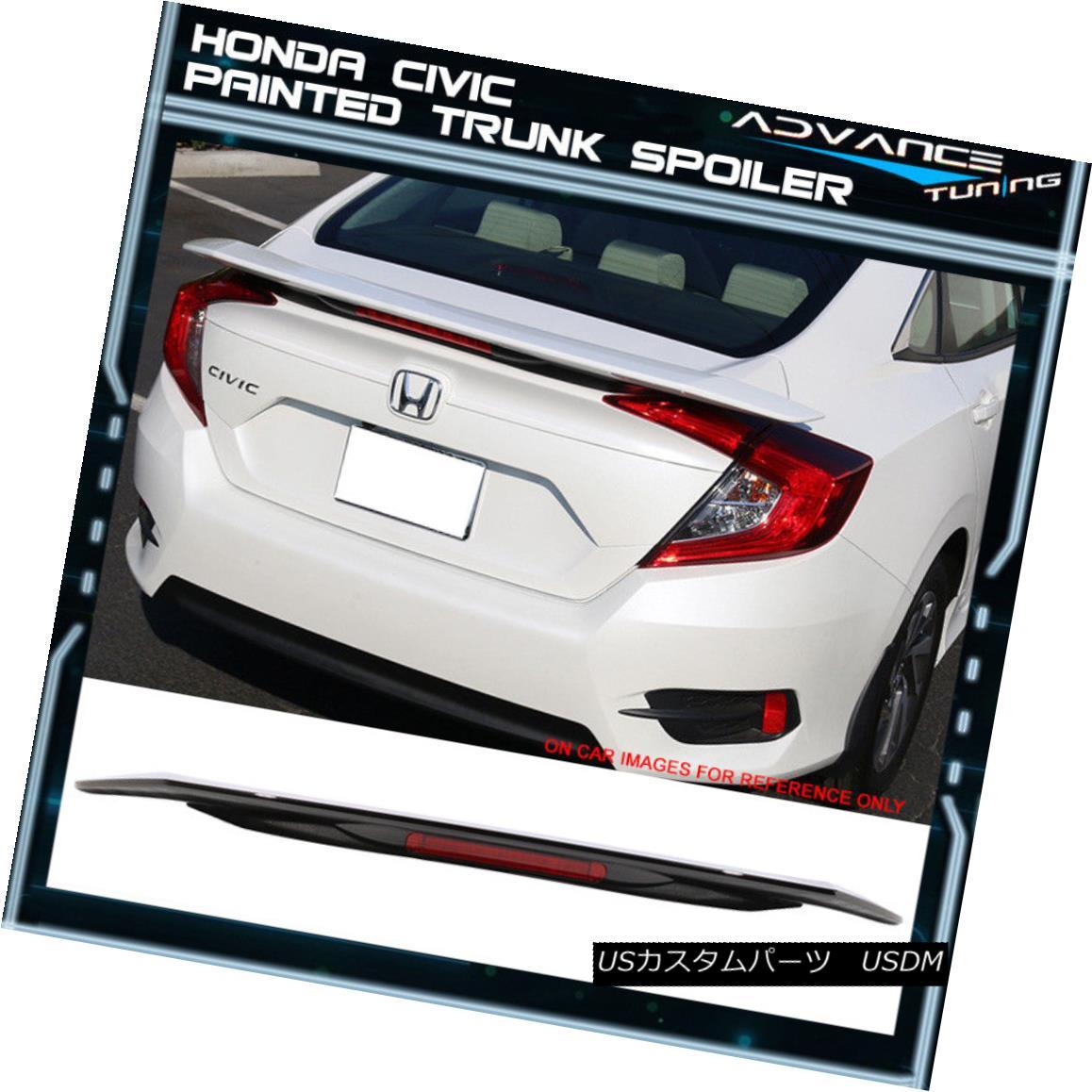 エアロパーツ 16-18 Honda Civic LED Brake Trunk Spoiler Painted #R560P Burgundy Night Pearl 16-18ホンダシビックLEDブレーキトランク・スポイラー#R560Pブルゴーニュ・ナイト・パール
