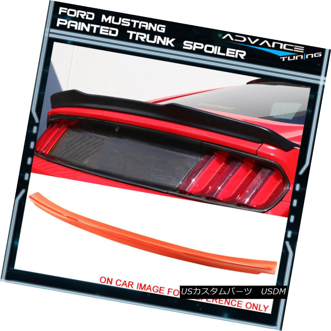 エアロパーツ 15-18 Mustang 2Dr High Kick V Trunk Spoiler OEM Painted #CY Competition Orange 15-18 Mustang 2DrハイキックVトランク・スポイラーOEM塗装#CYコンペティション・オレンジ