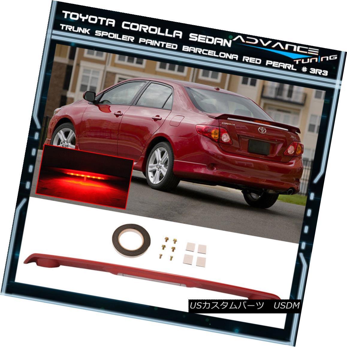 エアロパーツ 09-13 Corolla Trunk Spoiler LED Painted Barcelona Red Pearl # 3R3 ABS 09-13カローラトランクスポイラーのLEDバルセロナレッドパール#3R3 ABS塗装