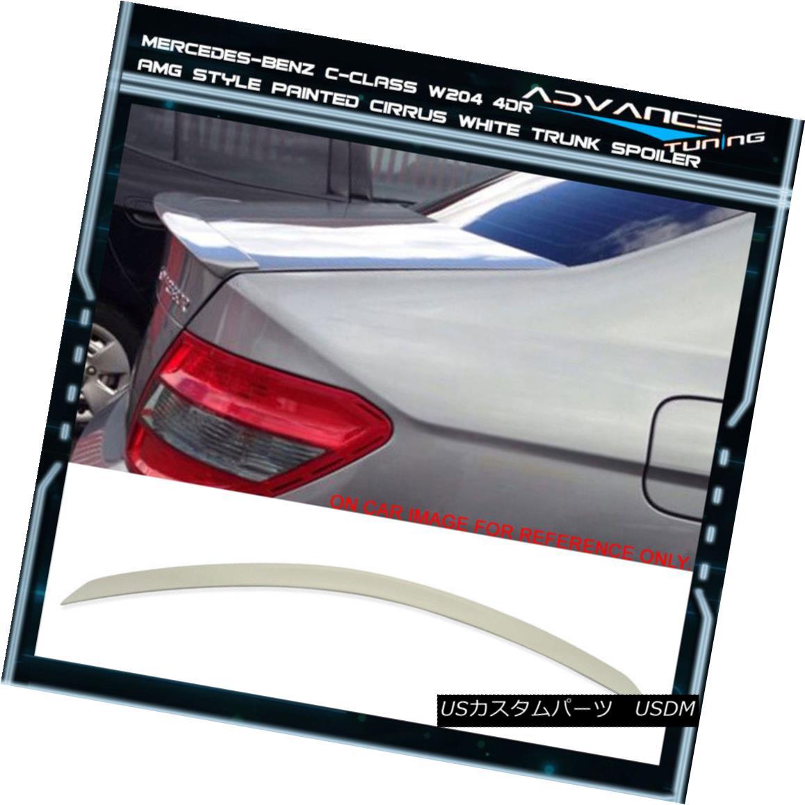 エアロパーツ 08-14 Benz C-Class W204 4Dr Trunk Spoiler OEM Painted Color # 650 Cirrus White 08-14ベンツCクラスW204 4Drトランク・スポイラーOEM塗装カラー#650シーラス・ホワイト