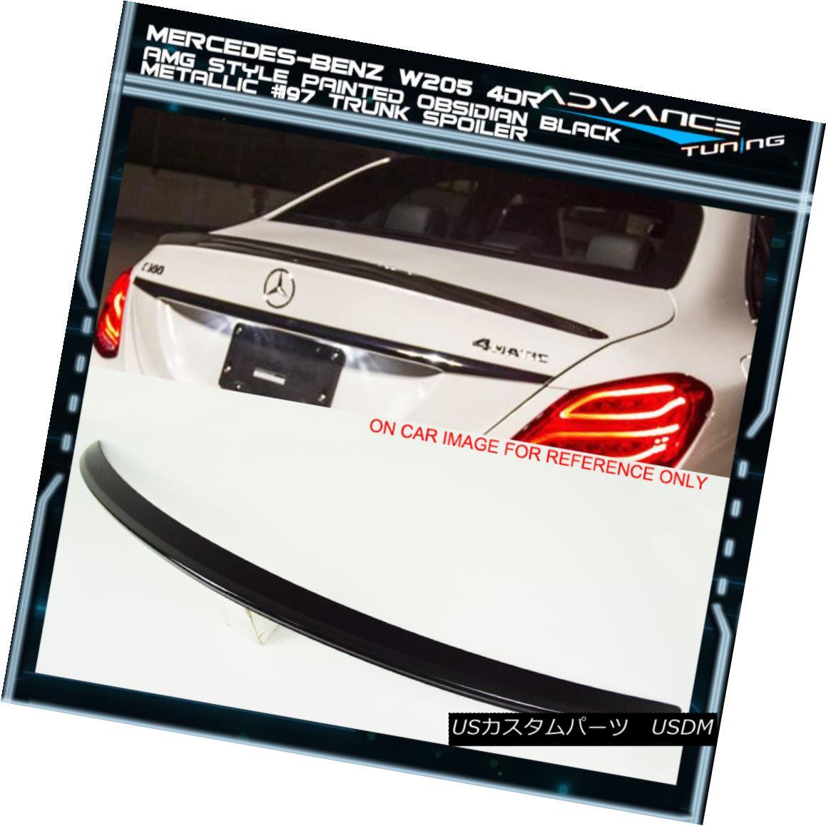 エアロパーツ 15-18 W205 AMG ABS Trunk Spoiler OEM Painted Color Obsidian Black Metallic # 197 15-18 W205 AMG ABSトランク・スポイラーOEM塗装カラーObsidian Black Metallic#197