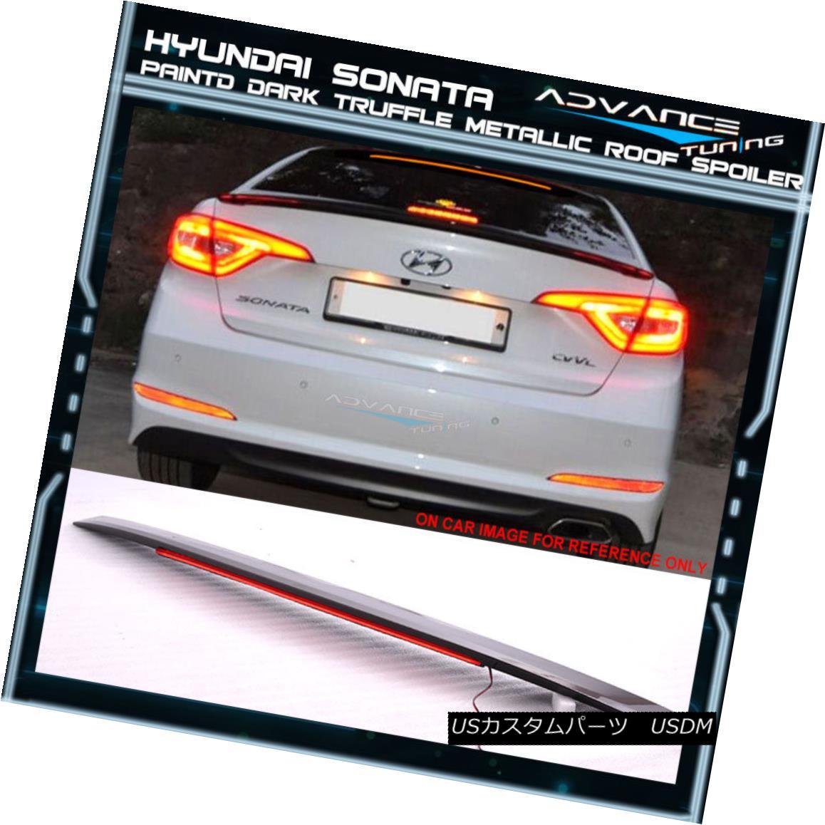エアロパーツ Fit 15-17 Sonata LF OE Painted Trunk Spoiler LED #NN8 Dark Truffle Metallic フィット15-17ソナタLF OE塗装トランクスポイラーLED#NN8ダークトラッフルメタリック