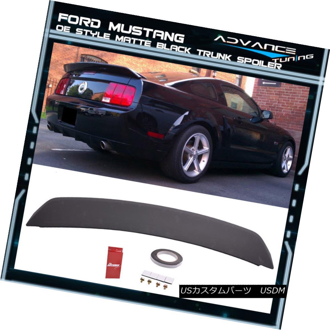 エアロパーツ 05-09 Ford Mustang OE Style Painted Matte Black Trunk Spoiler - ABS 05-09フォードマスタングOEスタイル塗装マットブラックトランクスポイラー - ABS
