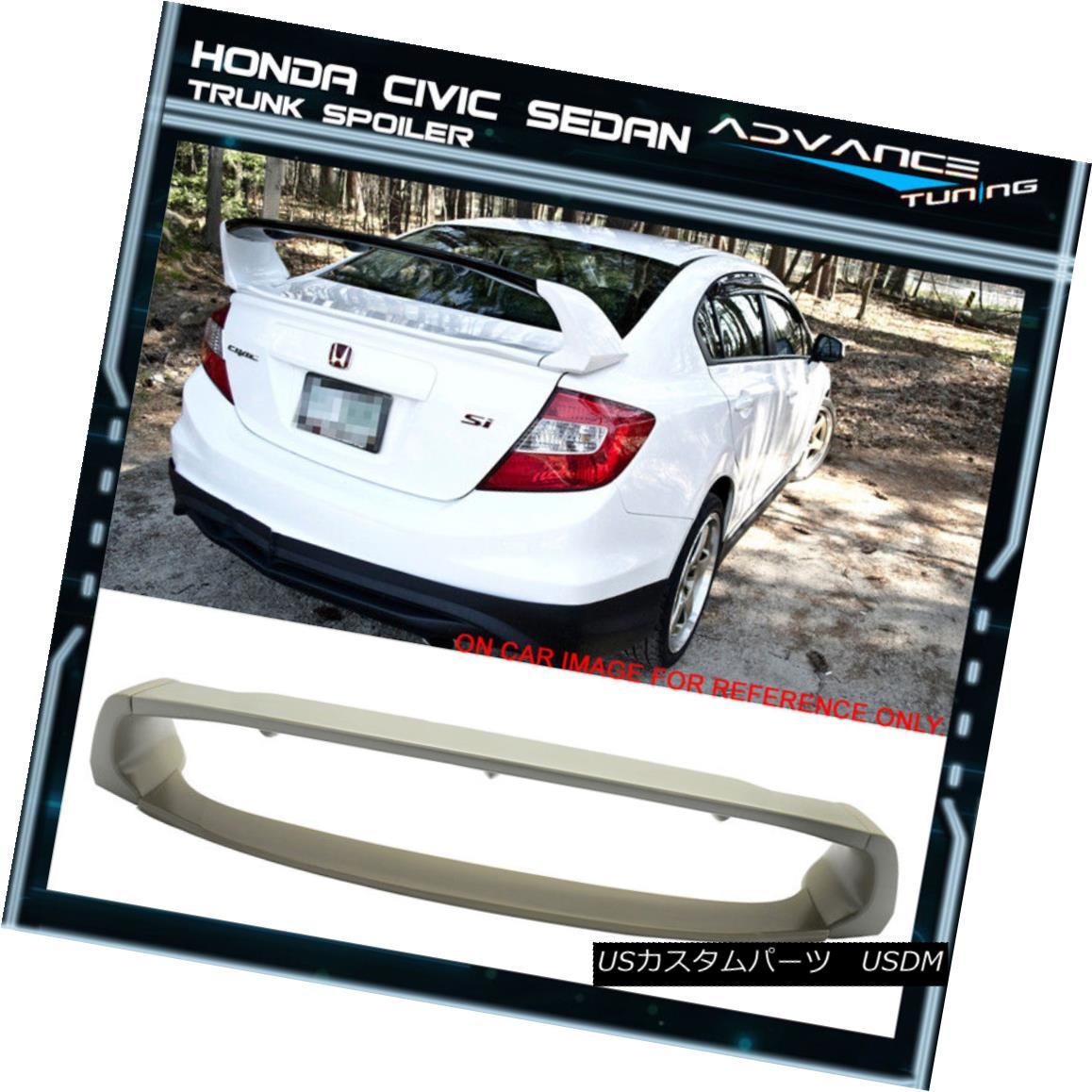 エアロパーツ 12-15 Honda Civic Mugen Style Trunk Spoiler Unpainted 4Pcs ABS 12-15ホンダシビックミュンヘンスタイルトランクスポイラー未塗装4個入りABS