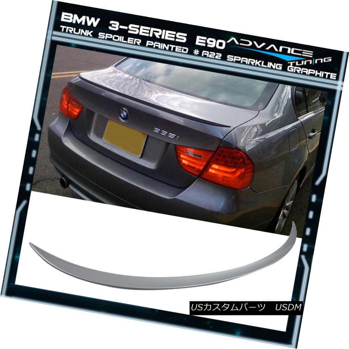 エアロパーツ 06-11 BMW 3-Series E90 Trunk Spoiler OEM Painted Color # A22 Sparkling Graphite 06-11 BMW 3シリーズE90トランク・スポイラーOEM塗装カラー#A22 Sparkling Graphite