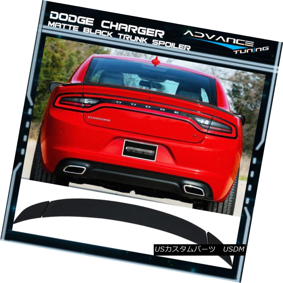 エアロパーツ Fits 15-18 Dodge Charger OE Factory Style 3PC Trunk Spoiler - Matte Black ABS フィット15-18ドッジ充電器OE工場のスタイル3PCトランクスポイラー - マットブラックABS