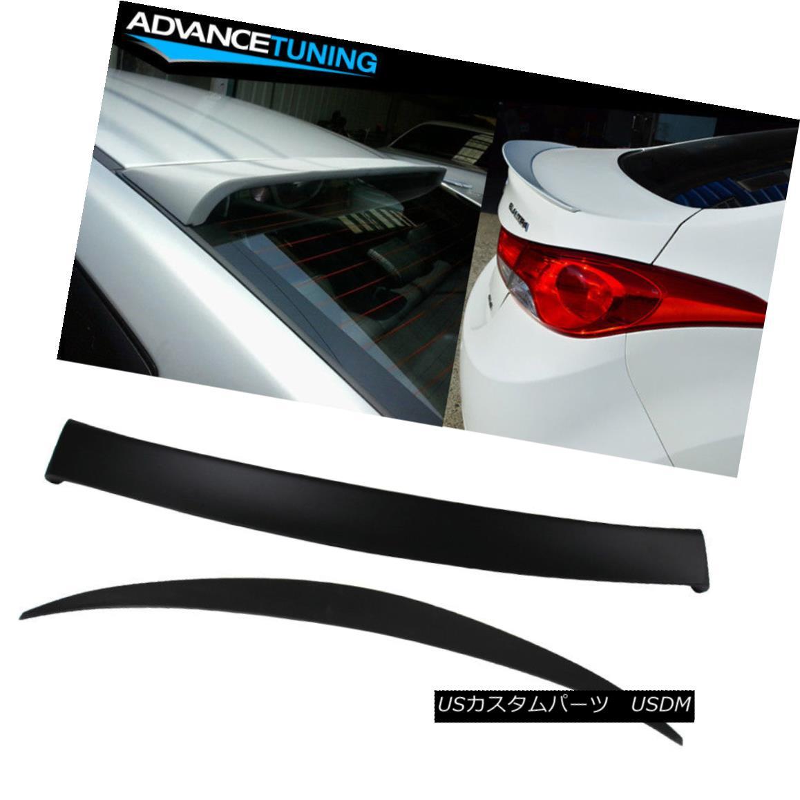 エアロパーツ Fits 10-15 Hyundai Elantra 4Dr OE Style Trunk + Roof Spoiler Unpainted ABS 現代エラントラ4Dr OEスタイルトランク+ルーフスポイラー無塗装ABS