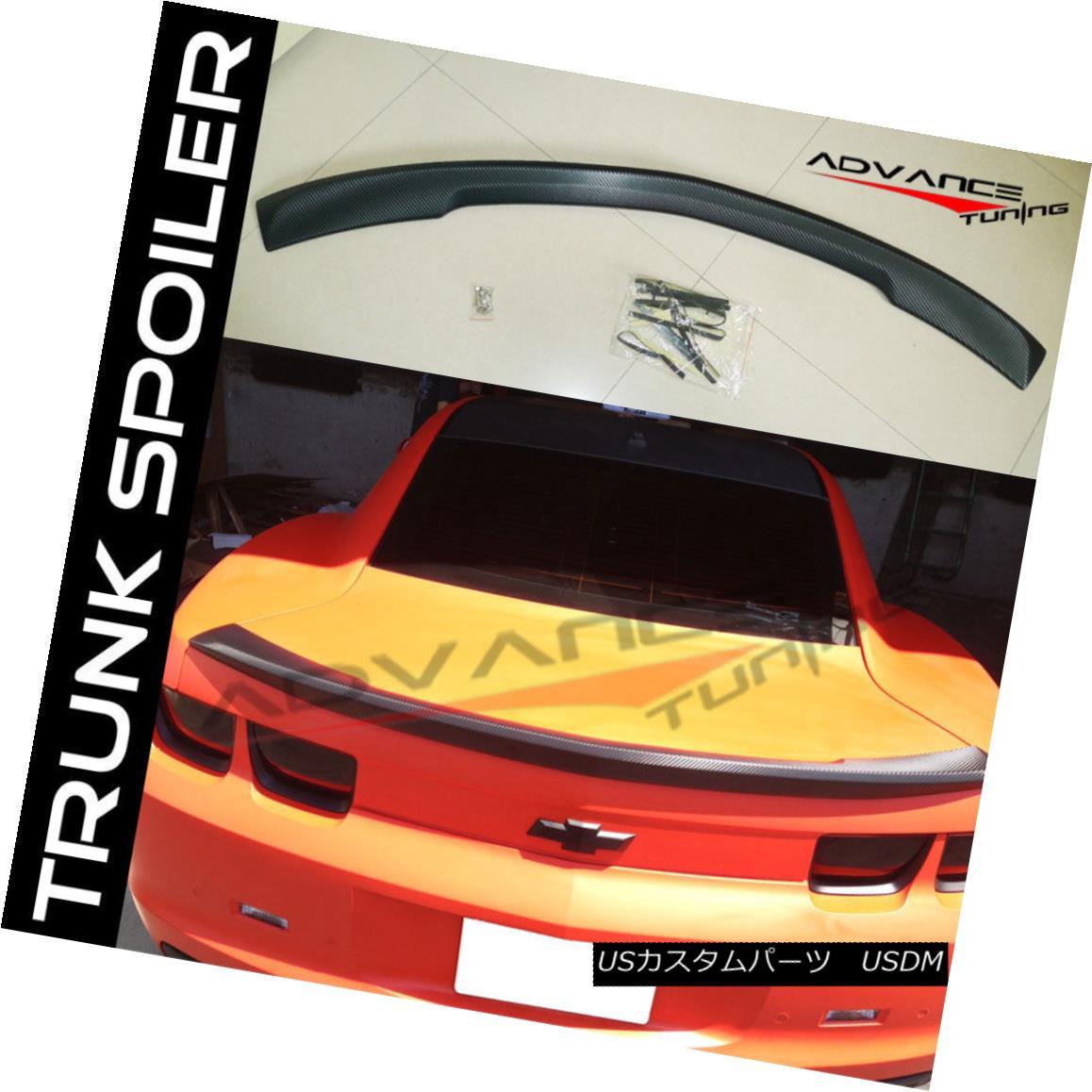 エアロパーツ Fits 10-13 Chevrolet Camaro OE 4D Vinyl Wrap CF Duck Trunk Lip Spoiler Wing フィット10-13シボレーカマロOE 4DビニールラップCFダックトランクリップスポイラーウィング