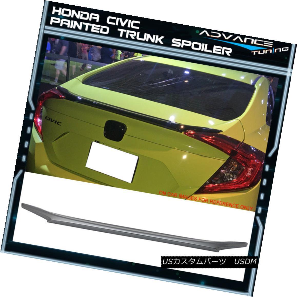 エアロパーツ 16-18 Honda Civic Sedan Trunk Spoiler OEM Painted #NH830M Lunar Silver Metallic 16-18ホンダシビックセダントランクスポイラーOEM塗装済み#NH830Mルナシルバーメタリック