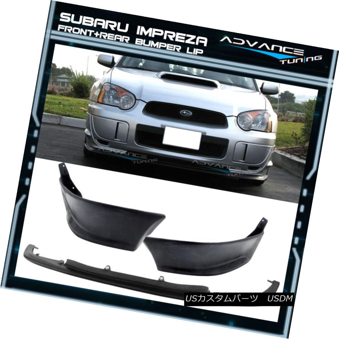 エアロパーツ Fit For 04-05 Subaru Impreza WRX STI V-Limited Front + Rear Lip Spoiler Urethane Fit For For 04-05スバルインプレッサWRX STI V-Limitedフロント+リアリップスポイラーウレタン