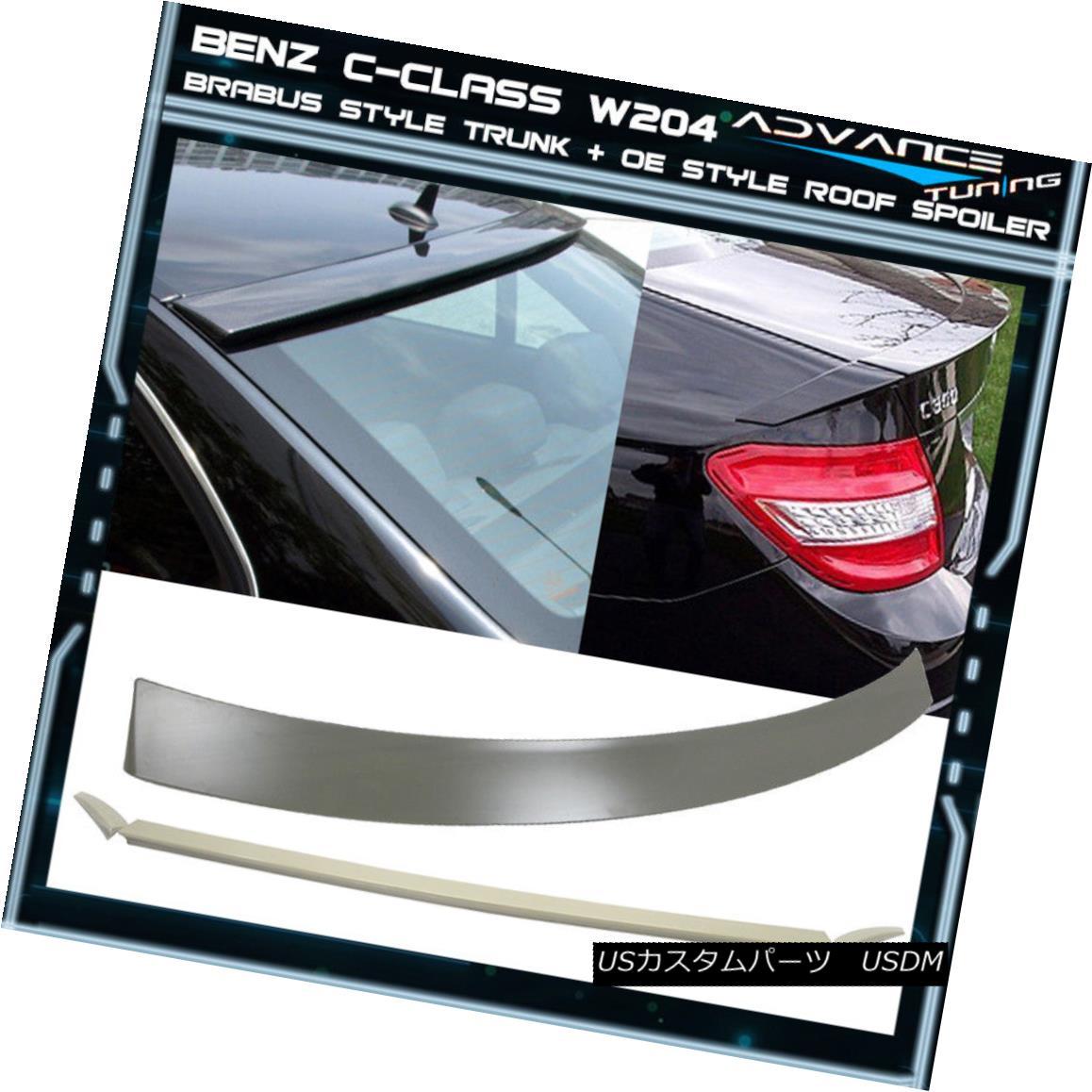 エアロパーツ 08-14 BENZ C Class W204 4Dr B Type Trunk + OE Style Roof Spoiler Unpainted ABS 08-14ベンツCクラスW204 4Dr Bタイプトランク+ OEスタイルルーフスポイラー無塗装ABS