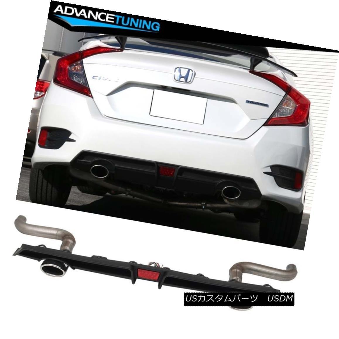 エアロパーツ Fits 16-18 Honda Civic Rear LED Diffuser + Axle Back Dual 4in Exhaust Tips フィット16-18ホンダシビックリアLEDディフューザ+アクスルバックデュアル4in排気のヒント
