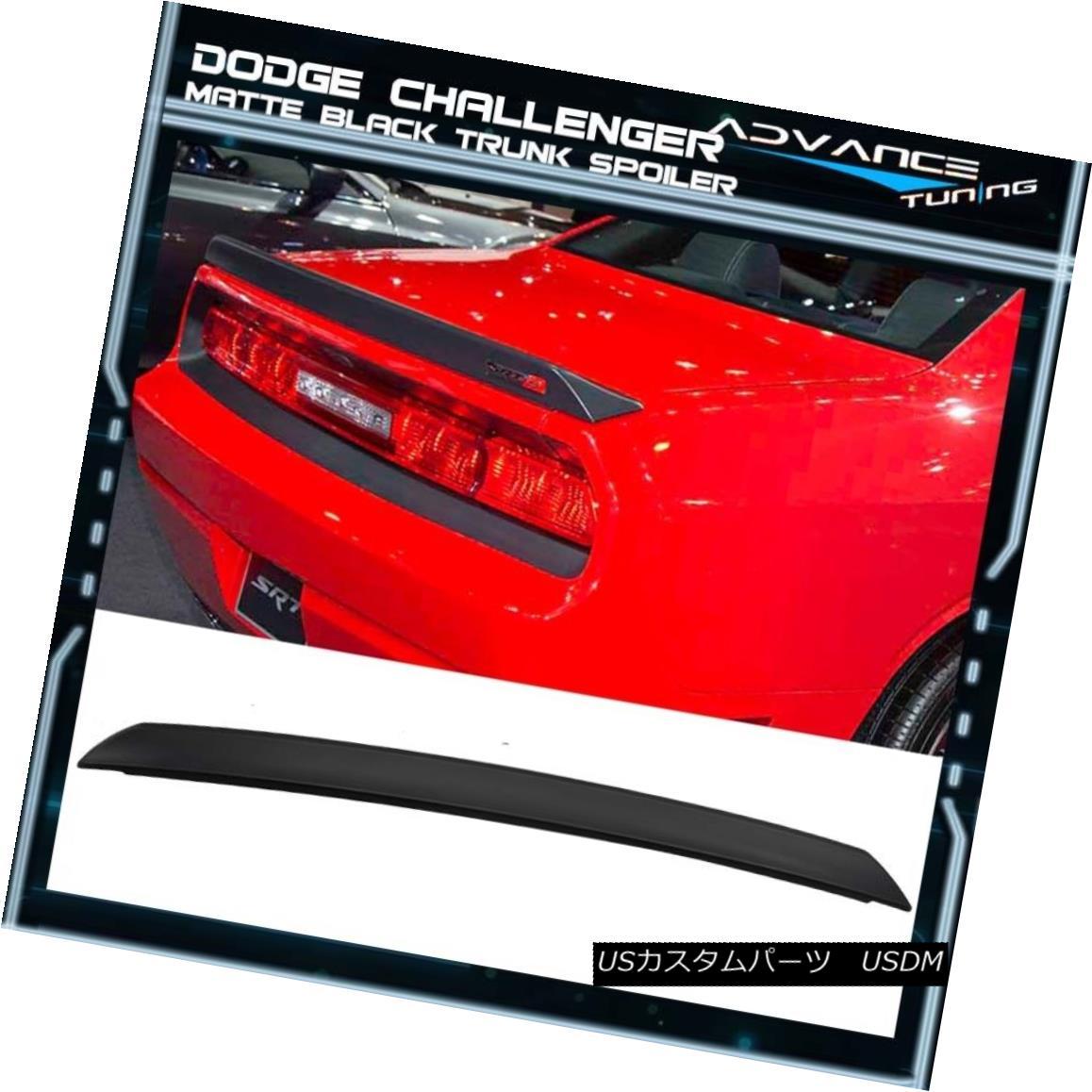 エアロパーツ Matte Black! Fits 08-17 Dodge Challenger 2Dr Coupe SRT Style Trunk Spoiler - ABS マットブラック! フィット08-17ドッジチャレンジャー2DrクーペSRTスタイルのトランクスポイラー - ABS