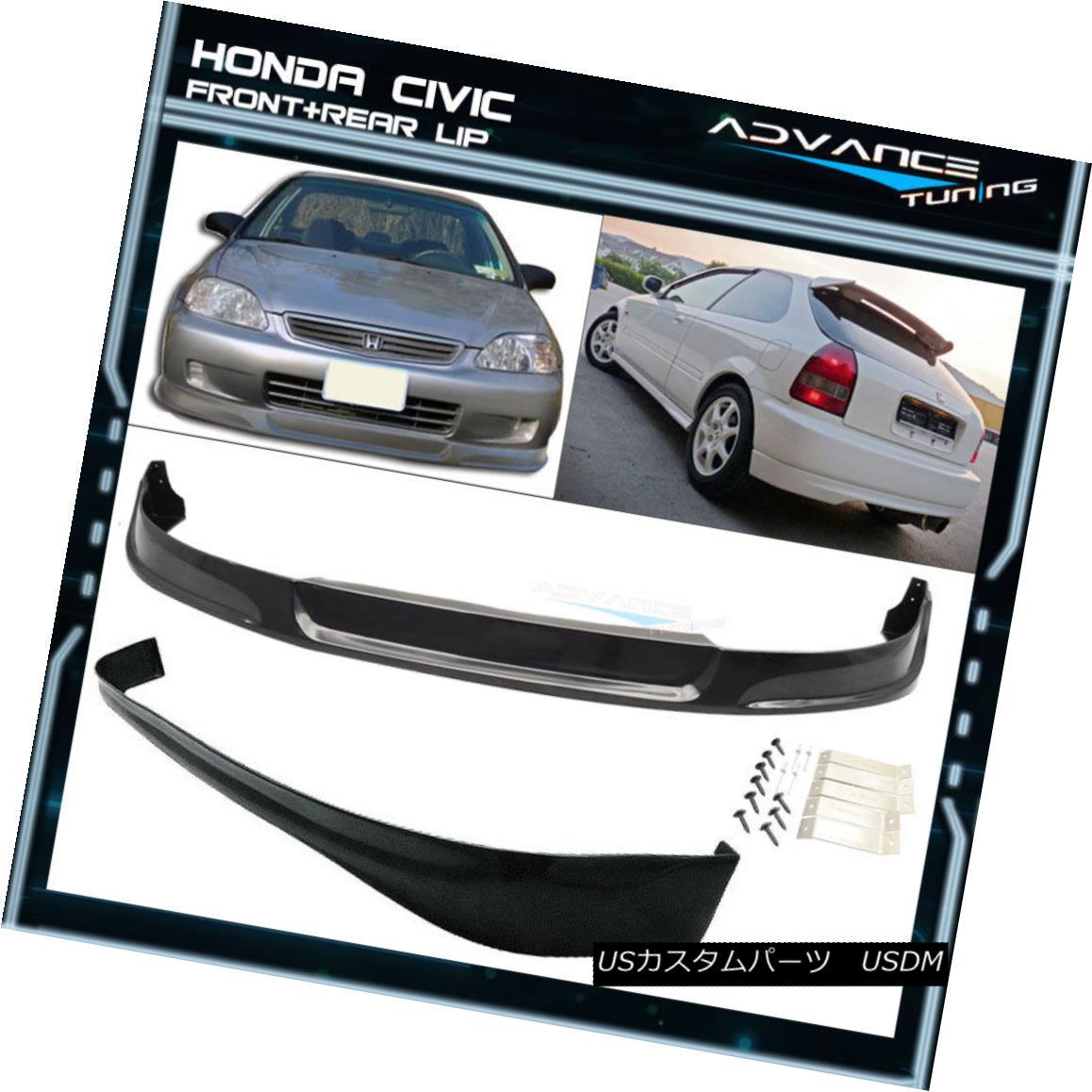 エアロパーツ For 99-00 Honda Civic EK 3Dr Concept Sport Front + Rear Bumper Lip Spoiler PU 99-00ホンダシビックEK 3Drコンセプトスポーツフロント+リアバンパーリップスポイラーPU