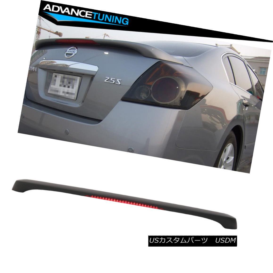 エアロパーツ Matte Black! Fits 07-12 Nissan Altima 4DR Sedan OE Trunk Spoiler LED Brake Light マットブラック! フィット07-12日産アルティマ4DRセダンOEトランクスポイラーLEDブレーキライト