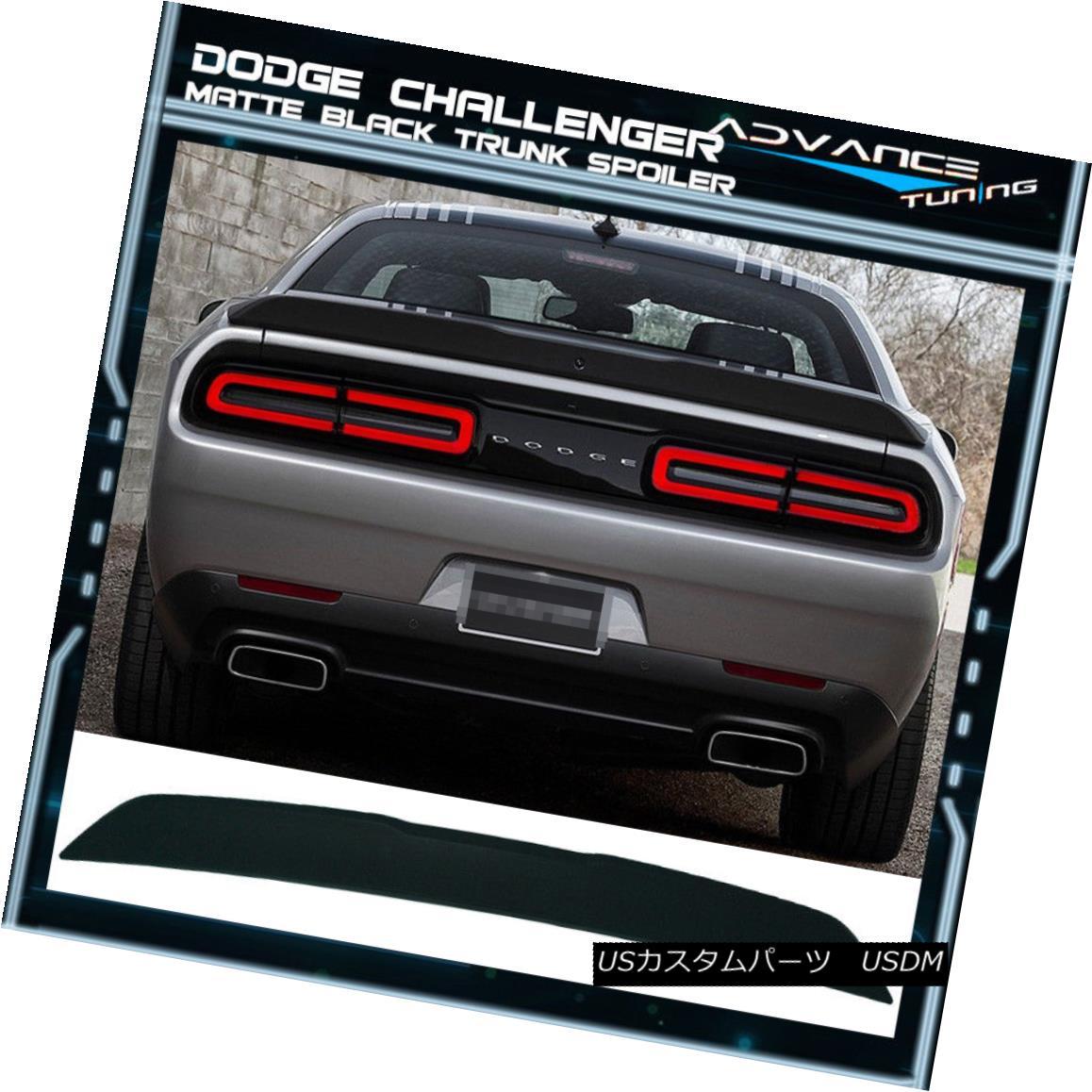 エアロパーツ Fits 15-17 Challenger R/T Scat Pack Matte Black Trunk Spoiler No Camera Hole フィット15-17チャレンジャーR / Tスカートパックマットブラックトランクスポイラーカメラホールなし