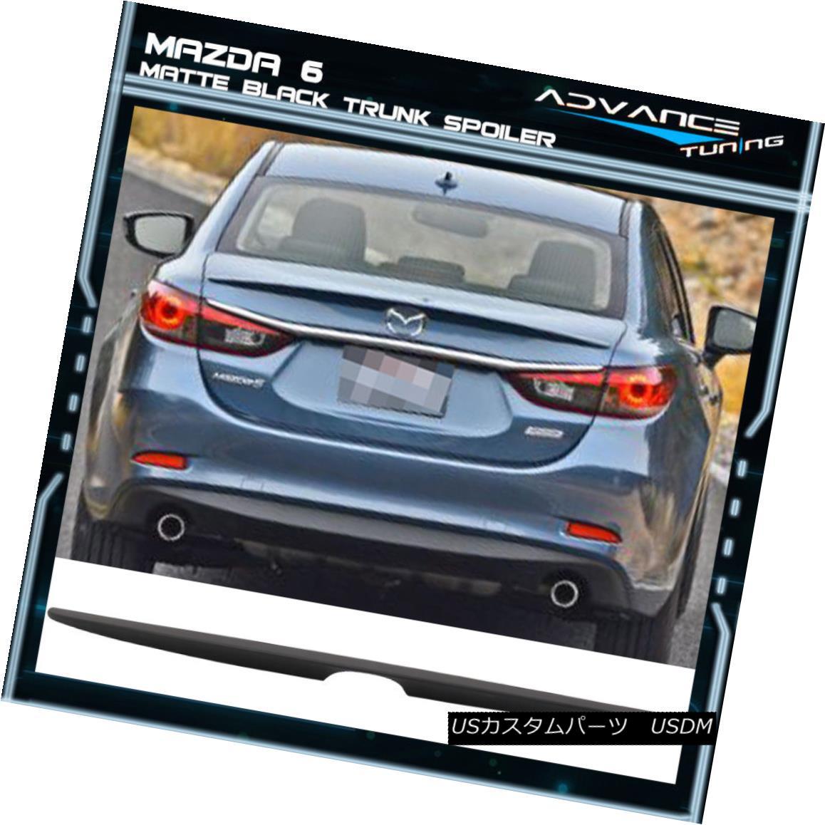 エアロパーツ Matte Black Fits 14-18 Mazda 6 Sedan OE Factory Style Flush Mount Trunk Spoiler マットブラックフィット14-18マツダ6セダンOEファクトリースタイルフラッシュマウントトランクスポイラー