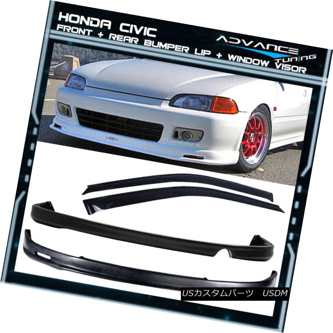 エアロパーツ For 92-95 Civic 2Dr Mugen Front + Rear Bumper Lip Spoiler + Sun Window Visor 92-95 Civic 2Dr Mugen Front +リアバンパーリップスポイラー+ Sun Window Visor