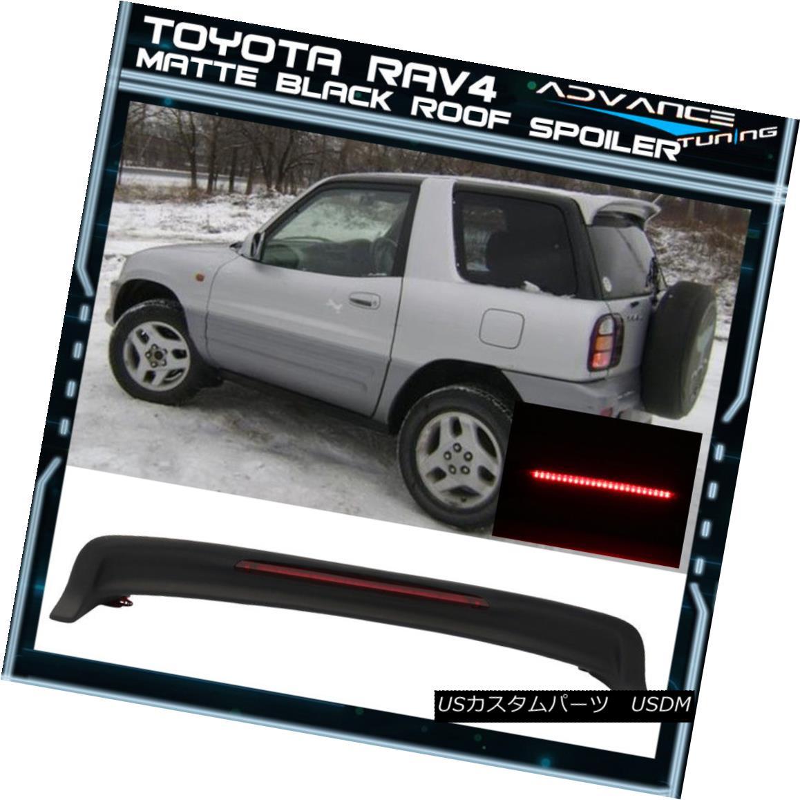 エアロパーツ Matte Black! Fits 94-00 Toyota RAV4 XA10 OE Style Roof Spoiler ABS LED Light マットブラック! フィット94-00トヨタRAV4 XA10 OEスタイルルーフスポイラーABS LEDライト