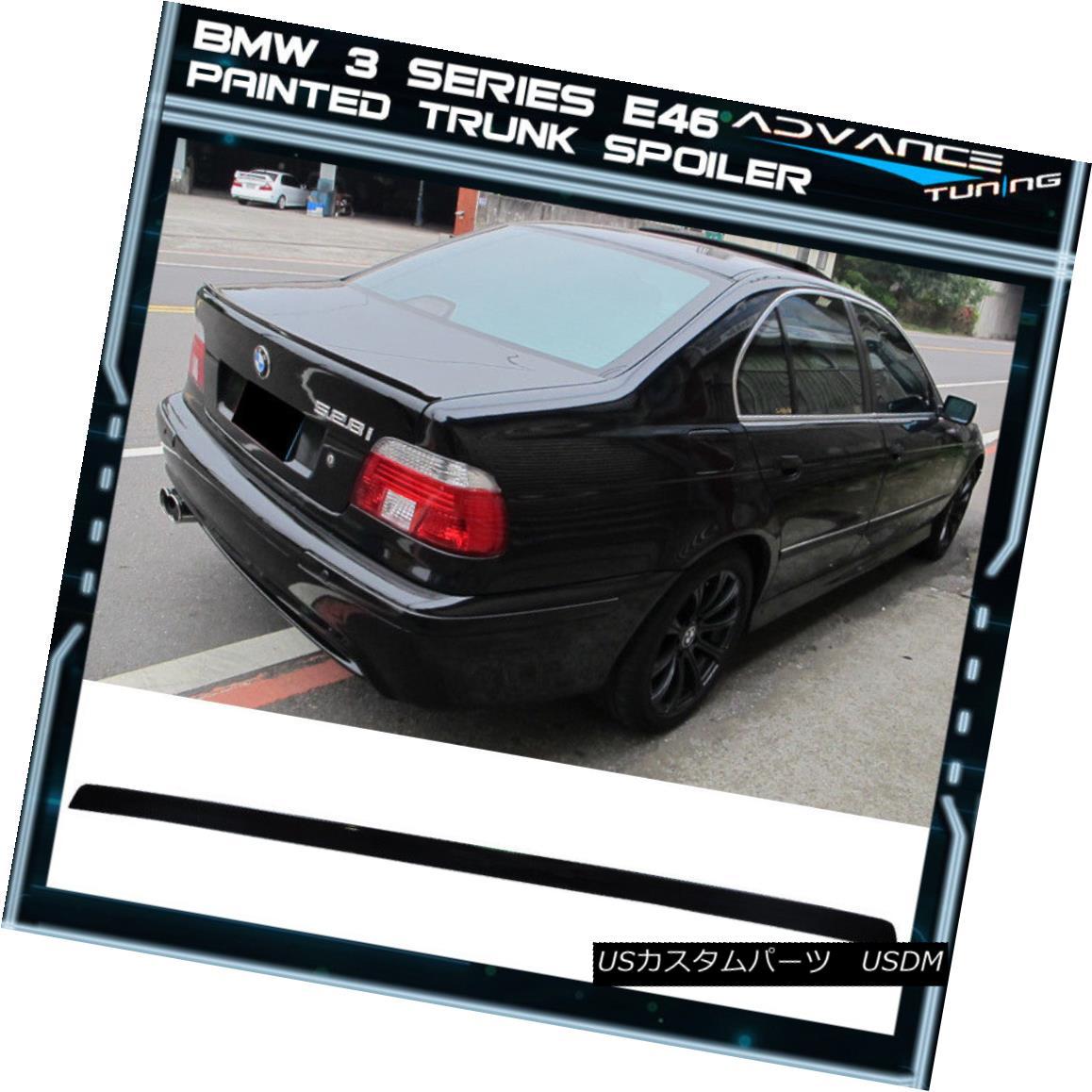 エアロパーツ 99-05 BMW 3 Series 4Dr E46 Painted #668 Jet Black Trunk Spoiler - PUF 99-05 BMW 3シリーズ4Dr E46ペイント#668ジェットブラックトランク・スポイラー - PUF