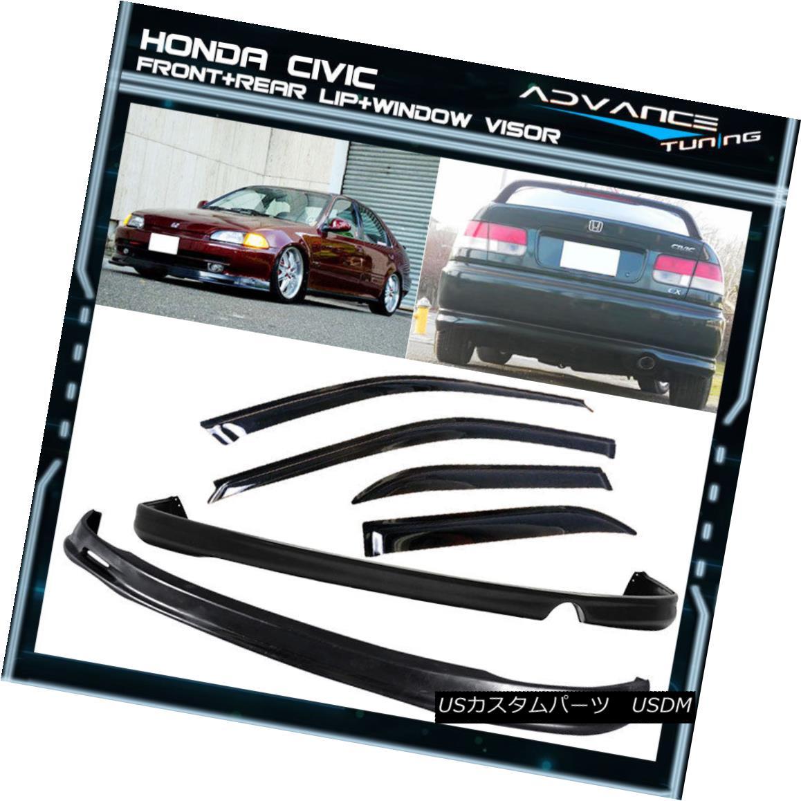 エアロパーツ Fits 92-95 Honda Civic 4Dr Front + Rear Bumper Lip Spoiler + Sun Window Visor フィット92-95ホンダシビック4Drフロント+リアバンパーリップスポイラー+サンウィンドウバイザー