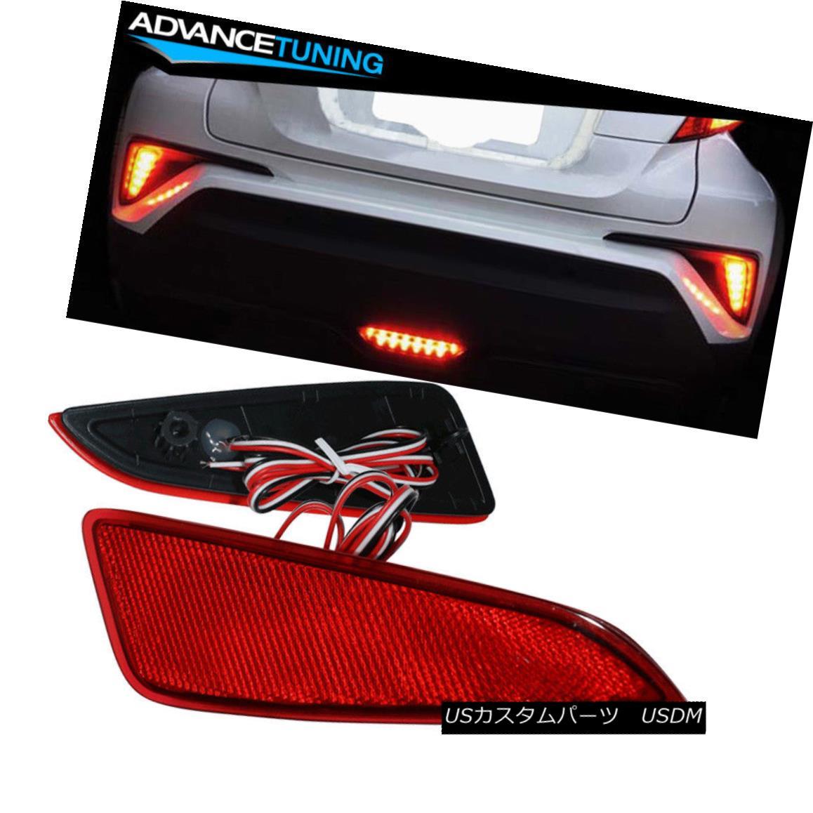 エアロパーツ Fits 17-18 Toyota CHR C-HR LED OE Style Rear Bumper Side Reflectors Lights フィット17-18トヨタCHR C-HR LED OEスタイルリアバンパーサイドリフレクターライト