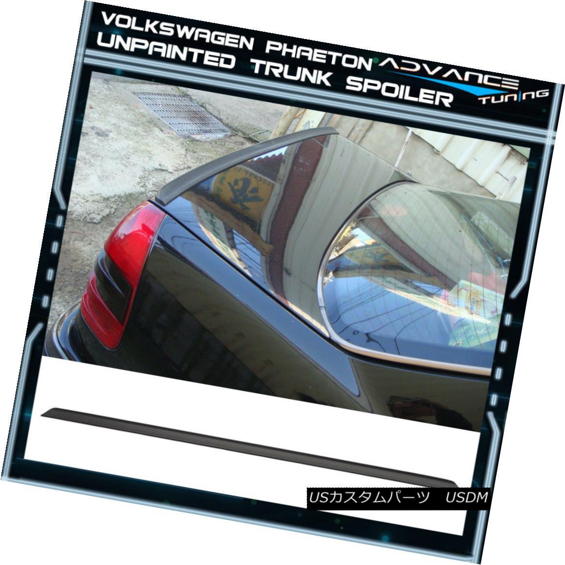 エアロパーツ 02-08 VW Volkswagen Phaeton PV Style Unpainted Black Trunk Spoiler - PUF 02-08 VW Volkswagen Phaeton PVスタイル未塗装のブラックトランク・スポイラー - PUF