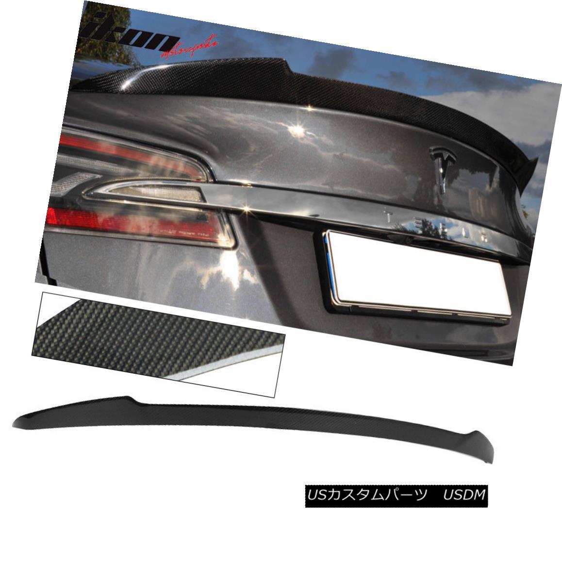 エアロパーツ 12-16 Tesla Model S H Style Trunk Spoiler - Carbon Fiber CF 12-16 Tesla Model S Hスタイルトランク・スポイラー - 炭素繊維CF