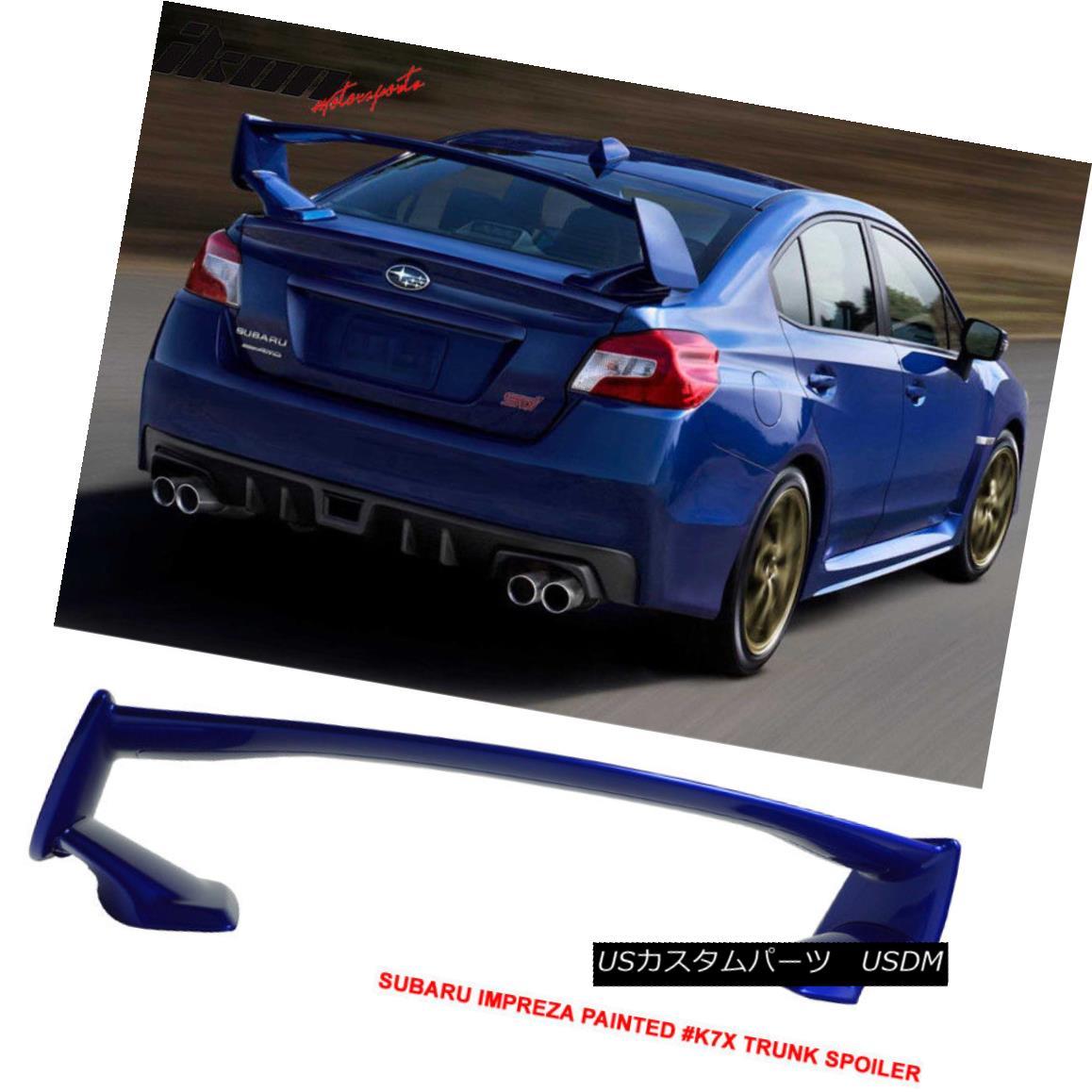 エアロパーツ For 15-18 Subaru WRX STI OE Style Painted K7X Wr Blue Pearl Trunk Spoiler Wing 15-18スバルWRX STI OEスタイル塗装済み#K7X Wrブルーパールトラン