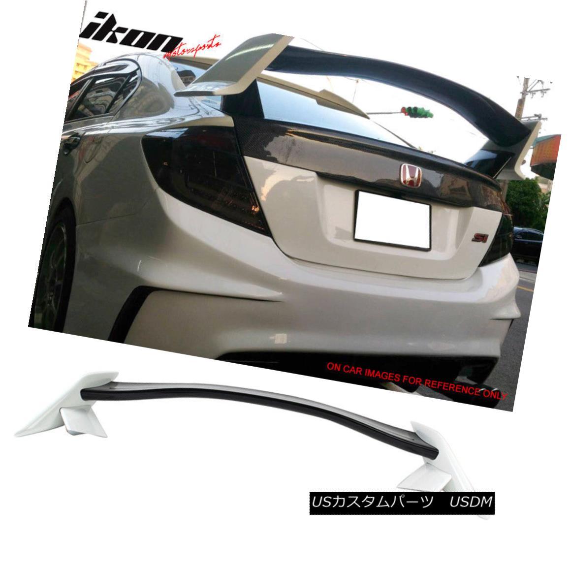 エアロパーツ Fits 12-15 Civic 9th Type R Trunk Spoiler Painted Glossy Black & Taffeta White フィット12-15シビック9thタイプRトランクスポイラー塗装光沢ブラック& タフタホワイト