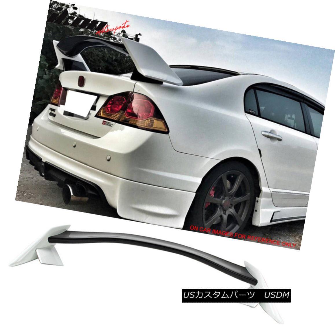 エアロパーツ Fits 06-11 Civic FA FD Type R Trunk Spoiler Painted Glossy Black & Taffeta White フィット06-11シビックFA FDタイプRトランクスポイラー塗装光沢ブラック& タフタホワイト