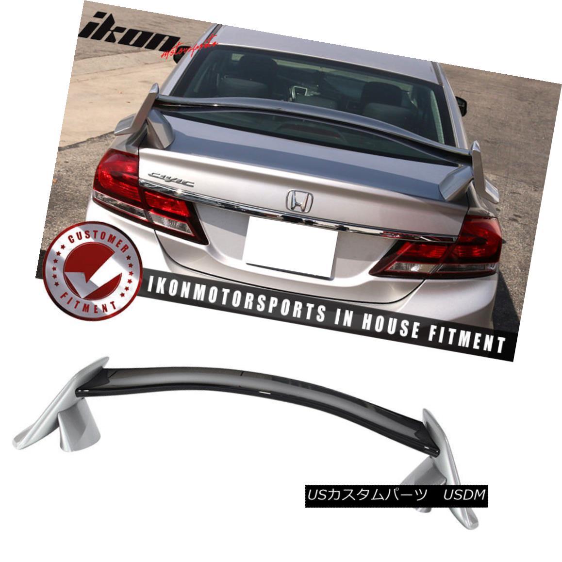 エアロパーツ Fits 12-15 Civic 9th Type R Trunk Spoiler Painted #700 Alabaster Silver Metallic 12-15シビック9thタイプRトランク・スポイラー・ペイント#700アラバスター・シルバー・メタリック