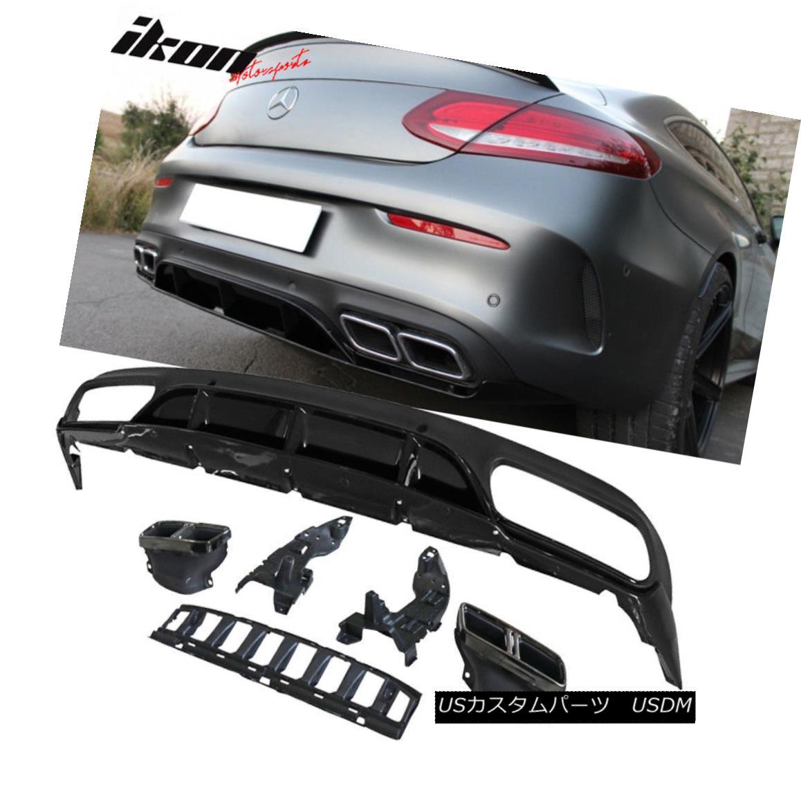 エアロパーツ Fits 15-18 Benz C-Class W205 C63 AMG Style Rear Diffuser Black PP フィット15-18ベンツCクラスW205 C63 AMGスタイルリアディフューザブラックPP