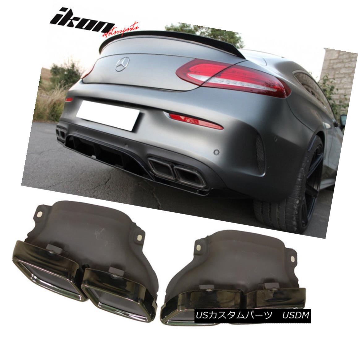 エアロパーツ Fits 15-18 Benz GLE GLS SL W213 C-Class AMG Style Exhaust Tips Black Chrome Pair フィット15-18ベンツGLE GLS SL W213 CクラスAMGスタイル排気チップブラッククロームペア