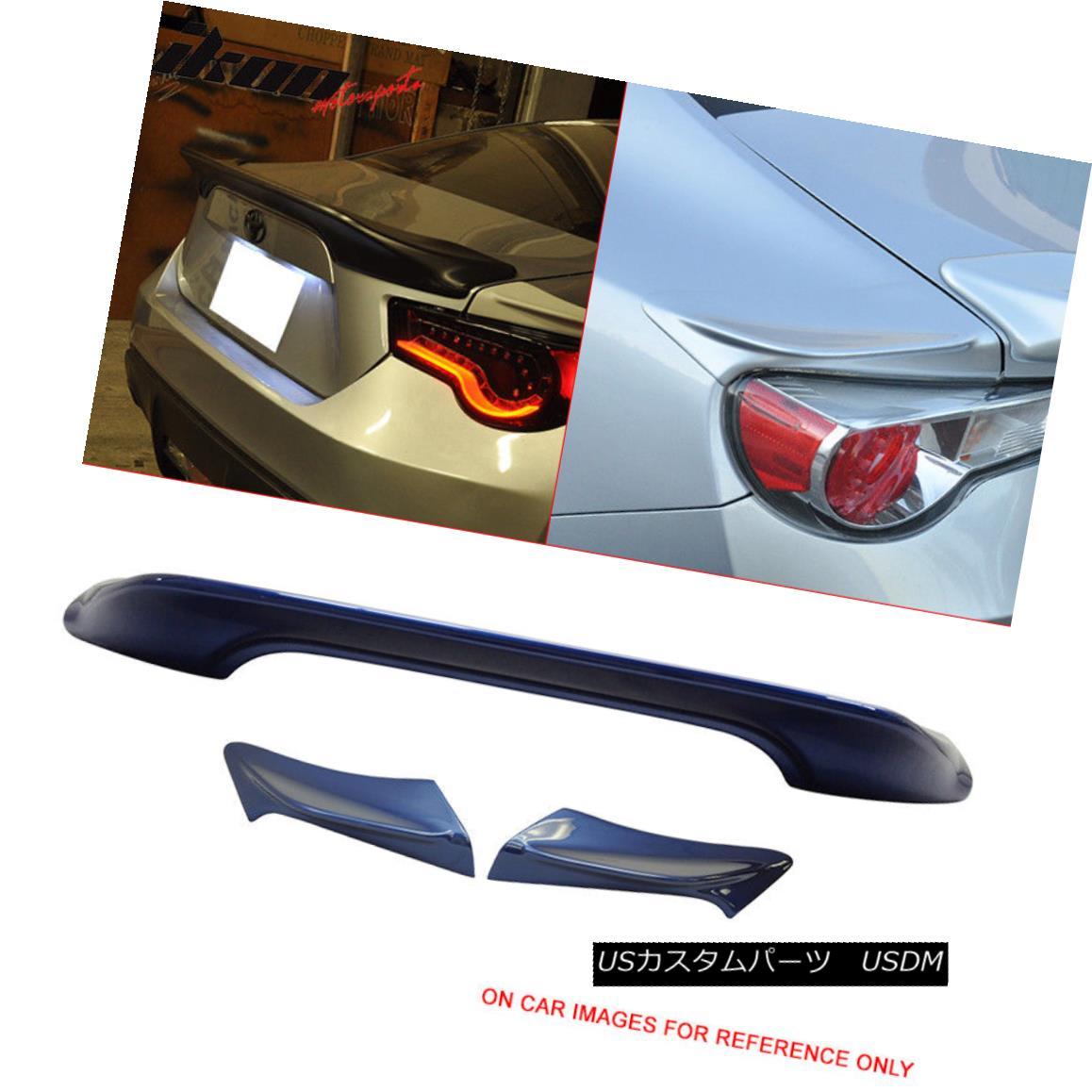 エアロパーツ Fits 13-17 FRS Painted #E8H Ultramarine Metallic TRD Trunk Spoiler & Side Wing フィット13-17 FRS塗装#E8HウルトラマリンメタリックTRDトランクスポイラー& サイドウィング