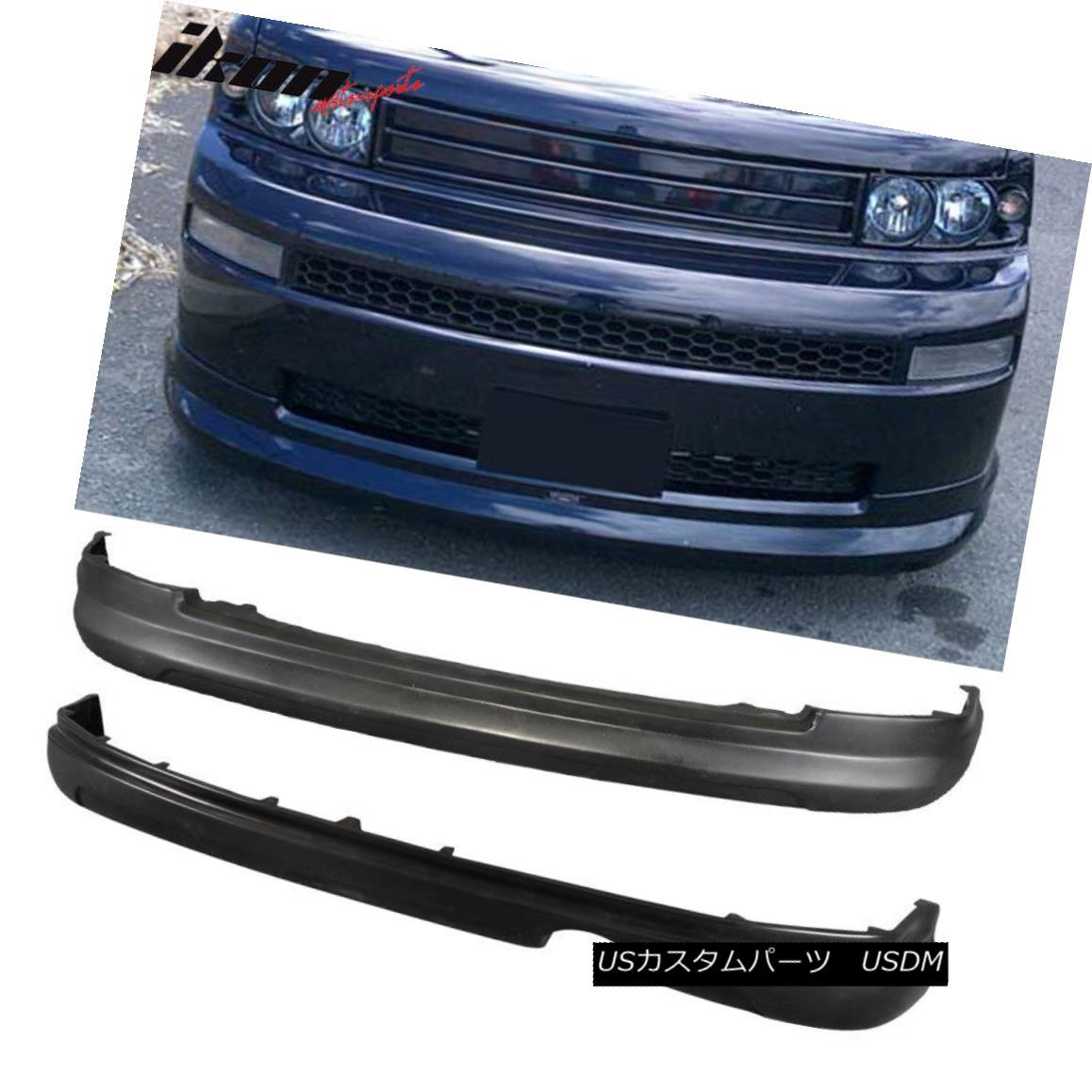 エアロパーツ Fits 03-07 Scion xB Front+ Rear Bumper Lip Diffuser Spoiler PU K-Style Uretahne フィット03-07シオンxBフロント+リアバンパーリップディフューザースポイラーPU Kスタイルウレターン