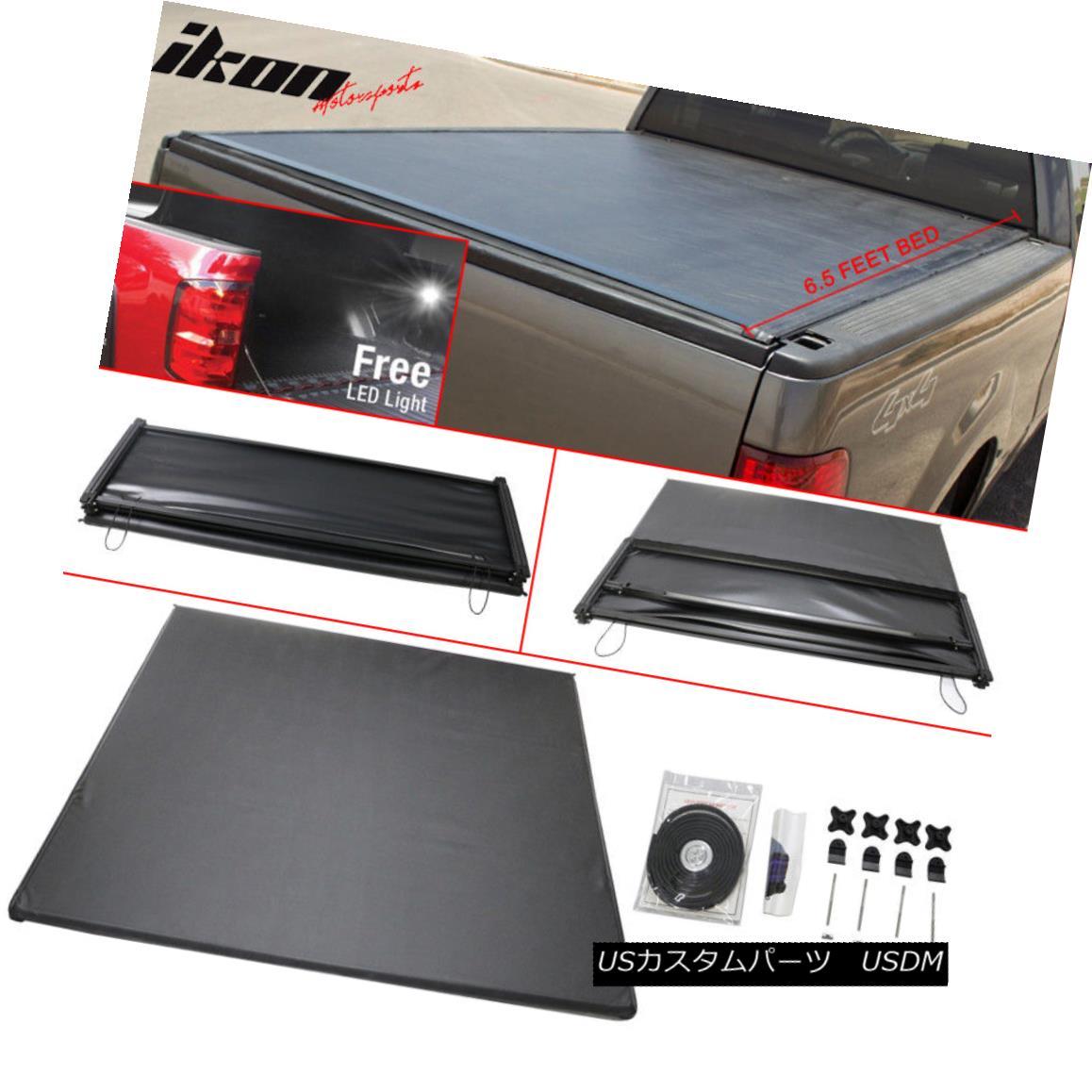 エアロパーツ Fits 04-08 F-150 05-08 Mark LT 6.5 Feet Bed Tri-Fold Soft Tonneau Cover Black フィット04-08 F-150 05-08マークLT 6.5フィートベッドトライフォールドソフトトノーカバーブラック