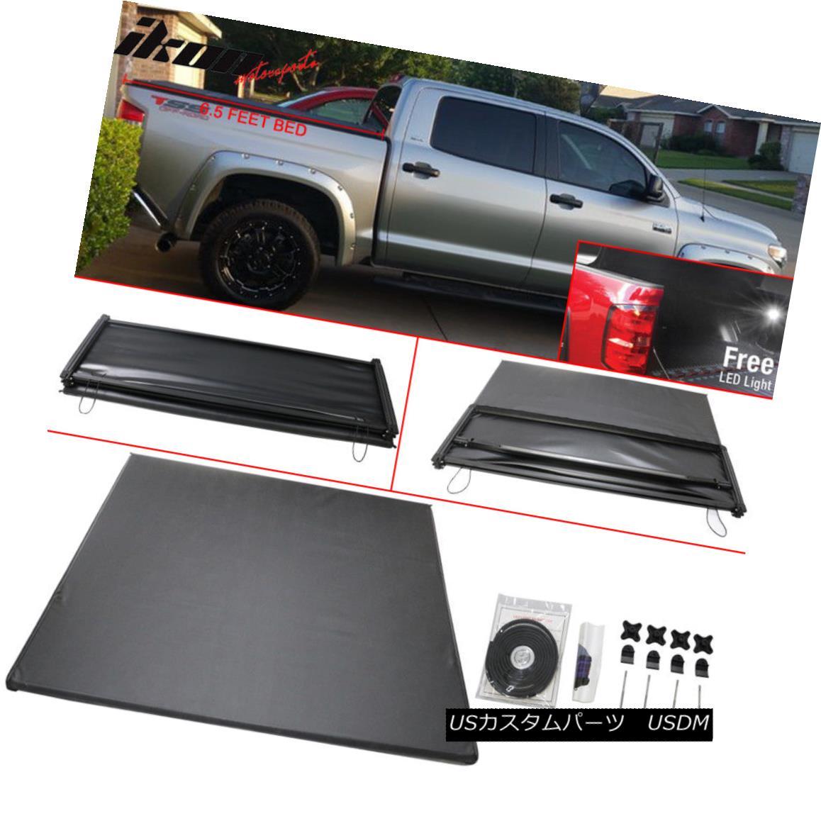 エアロパーツ For 14-17 Toyota Tundra 6.5 Feet Bed Tri-Fold Soft Tonneau Cover Black 14-17トヨタトンドラ6.5フィートベッドトライフォールドソフトトノーカバーブラック