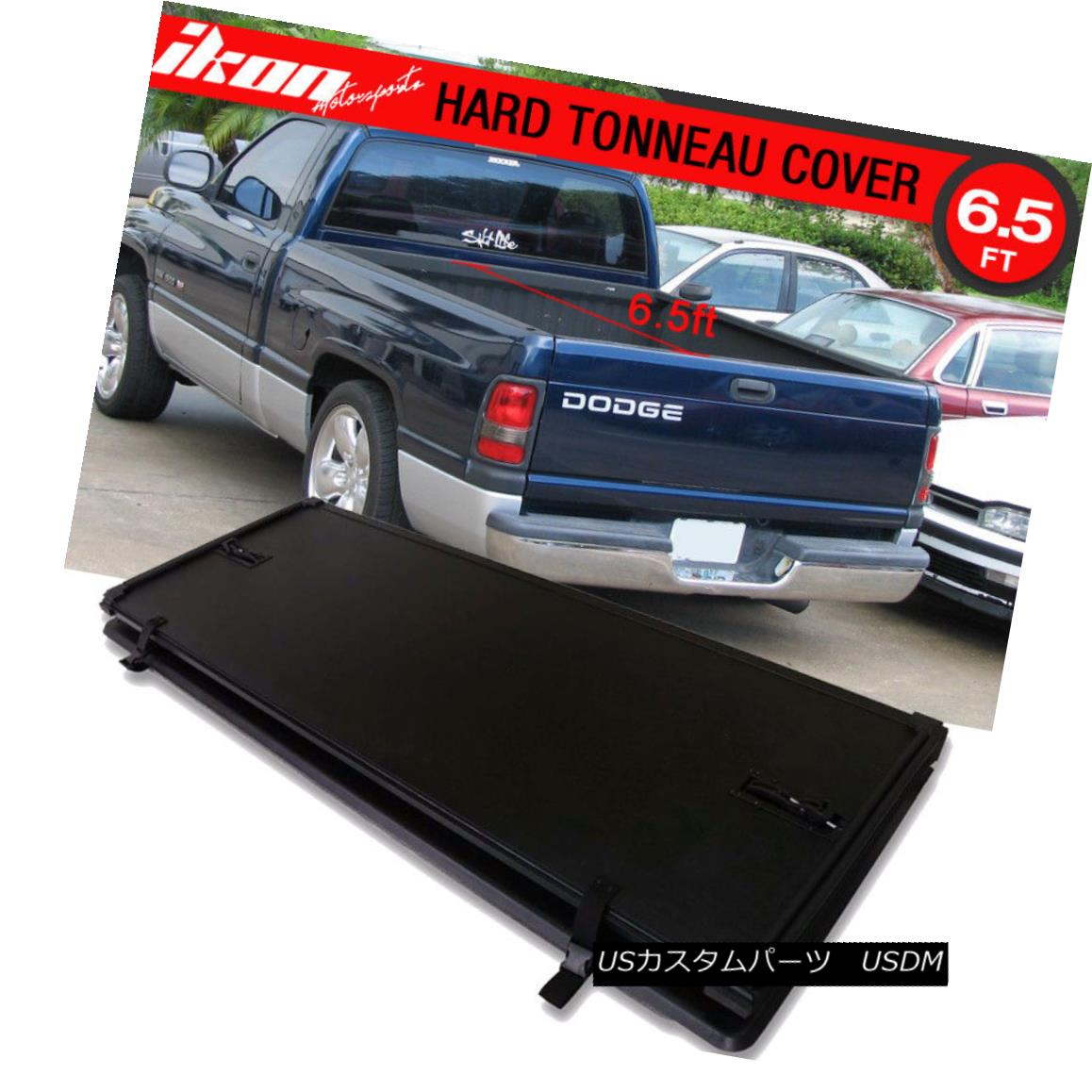 エアロパーツ Fits 94-02 Dodge Ram 2500 3500 6.5ft Bed Lock Tri-Fold Hard Solid Tonneau Cover フィット94-02ダッジラム2500 3500 6.5ftベッドロックトライフォールドハードソリッドトノーカバー