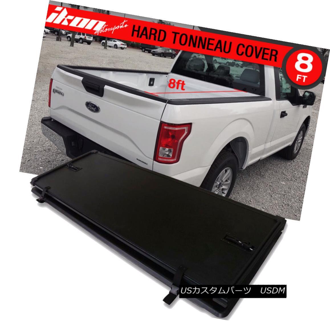 エアロパーツ For 15-17 Ford F-150 8ft /96inch Long Bed Lock Tri-Fold Hard Solid Tonneau Cover 15-17フォードF-150 8ft / 96inchロングベッドロックトライフォールドハードソリッドトノーカバー