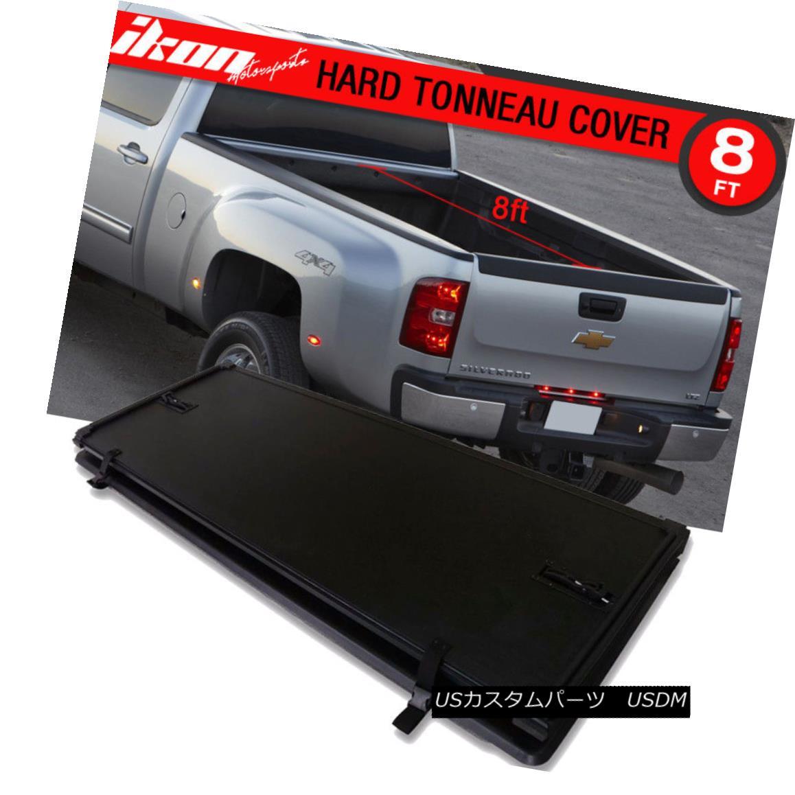 エアロパーツ For 07-13 Chevy Silverado GMC Sierra Tri-Fold Hard Solid Tonneau Cover 8ft 07-13シボレーシルバラードGMCシエラトライフォールドハードソリッドトノーカバー8フィート