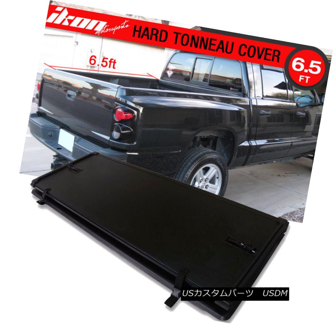 エアロパーツ For 05-11 Dakota Quad Cab Radier Tri-Fold Hard Solid Tonneau Cover 78 Inch Bed 05-11ダコタクワッドキャブラディアトリフォールハードソリッドトノーカバー78インチベッド